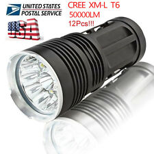 50000LM 12X LED CREE XM-L Torch Flashlight 4x 18650 Hunting Light Lamp US STOCK