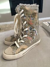 Biya Embroidered Sneakers High Top Shoes Booties Super Cute Size 5 Or 36
