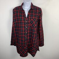 J Jill Womens Top Sz S Black Red Plaid Flannel Long Sleeve Button Front Shirt