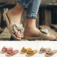 Women Bow Comfortable Espadrilles Sandals Slippers Beach Casual Flip Flops Shoes