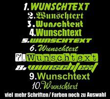 10cm Wunschtext Aufkleber Auto Boot Name Schriftzüge Sticker Rad Motorrad LKW