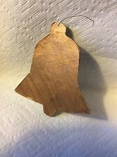 ANTIQUE HOMEMADE GOLD PAPER AND CARDBOARD BELL CHRISTMAS ORNAMENT