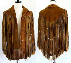 NEW-Women Fashion Coat Brown Suede Leather Ladies Western Jacket Fringes Beads