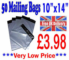 """50 Mailing Bags 10""""x14"""" Strong Grey Plastic Postage Postal Poly Post CHEAP!!!"""