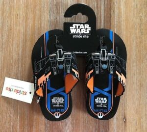 NWT Toddler Boys Star Wars Stride Rite Eva Flip Flops - Black - 9,10,11,12