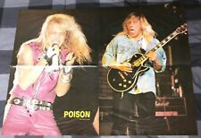 POISON / BRET MICHAELS / KIP WINGER /  2 SIDED 1980'S 4 PAGE MAGAZINE POSTER
