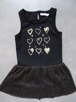 Robe de soirée sans manches noire et dorée imprimée cœurs G'KIDS Taille 5 ans