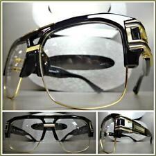 4488038d38da OVERSIZED RETRO HIP HOP RAPPER Style Clear Lens EYE GLASSES Black   Gold  Frame