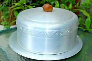 Vintage Aluminum Covered Cake Plate
