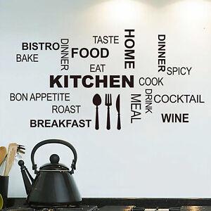 Kitchen Wall Sticker Vinyl Stickers Decal Art Design Beautiful Text on Wall Art