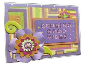 Handmade greeting Card sending good vibes thinking of you good luck miss you 3-D