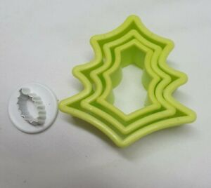 Christmas Holly Shaped Plastic Cookie Cutters