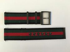 NEW AUTHENTIC GUCCI G COUPE FLAG BLACK,GREEN & RED 25mm NYLON STRAP FOR YA131202