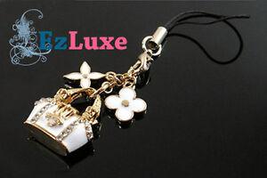 Korean monogram bag handbag Key Chain Pendant Charm flower white & gold luxury