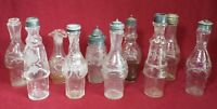 Lot of 10 Old Antique Assorted CASTOR BOTTLES Clear Glass Etched Glass 5 Lids