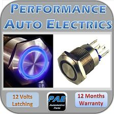 Switch Push Button On Off Latching 12v Blue LED Stainless Steel 19mm
