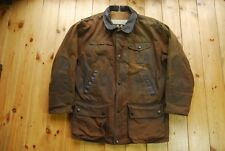 Men's Barbour Bushman Brown Waxed Cotton Leather Trimmed A1550 Large