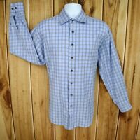 Johnston & Murphy Dress Shirt Mens Size L Blue Checks 100% Cotton Long Sleeve