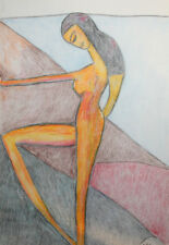 Original European abstract cubist nude portrait pastel drawing signed