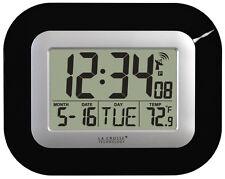 La Crosse Technology WT-8005U-B Atomic Digital Wall Clock w/ Indoor Temp Black