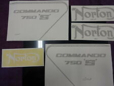 NORTON COMMANDO 750 'S' TANK AND SIDE COVER DECALS WITH PIN STRIPE