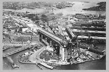 SYDNEY Harbour Bridge Construct South 1st aerial c1920s modern digital Postcard