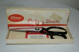 """VINTAGE CLAUSS  7"""" Pinking Shears  in BOX  WORKS GREAT USA made EUC"""