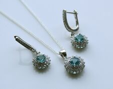 STERLING SILVER 1CT FACETED ROUND CUT BLUE TOPAZ CZ EARRING & PENDANT SET