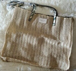 Victorias Secret Woven Extra Large Tote Weekender Beach Bag NWT