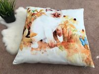 Unbranded Pillow Cat Lovers Graphic Home Decoration White Yellow 15x15