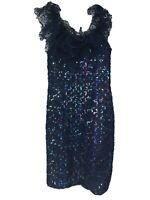 Vintage LORALIE  Bodycon Tulle Ruffle  Sleeveless Sequin Navy Blue Dress Size 6