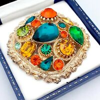 Vintage - Large Signed SPHINX Green Orange Topaz Crystal Statement Brooch Pin