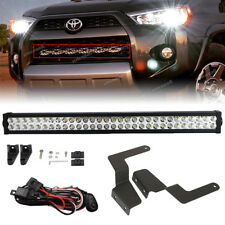 "Fit 14-UP TOYOTA 4Runner 32"" LED Light Bar+Hidden Grille Bumper Mount+Wiring Kit"