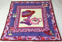 Quilt Wall Hanging, Printed, Patchwork & Appliqué, Red Hat, Gloves, Pink Teapot