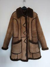 Shearling Sheepskin Womens Coat Jacket Craft Brown Made in England Real UK 18/M