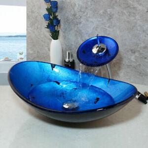 US Blue Oval Bathroom Glass Vessel Sink Basin Combo Waterfall Mixer Faucet Set