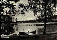 Erkner Brandenburg DDR s/w Postkarte 1962 gelaufen Partie am Karutz See Bank