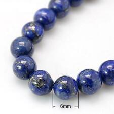 Strand of 32 Blue Lapis Lazuli 6mm Plain Round Beads HA02332
