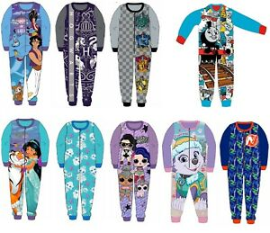 Boys Girls Kids Official Licensed Character Fleece All In One Pyjamas 18Mth 10Yr