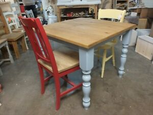 RECLAIMED PAINTED 3' X 3' FARMHOUSE TABLE BESPOKE SIZES & COLOURS LULWORTH BLUE