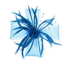 OFFERTA color foglia di tè Fascinator rete e piuma CLIP MATRIMONIO FESTA GARE