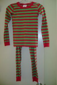Hanna Andersson red & green striped organic cotton pajamas    140    10 US