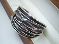 """GORGEOUS WIDE SOLID STERLING SILVER CREASED MODERNIST BRACELET BANGLE CUFF 7"""" 8"""""""