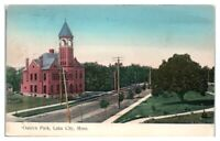 1910 Oaklyn Park and Church, Lake City, MN Postcard