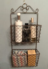 Rustic Metal Wall Storage Letter Rack Basket, Country Shabby Chic
