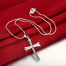 Wholesale 925 Sterling Silver Filled Cross Pendant Snake Chain Necklace Gift