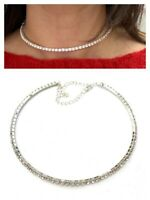 Classic Slim One Row Crystal Choker Necklace Silver Sparkly Diamante Party UK