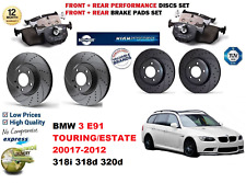 FOR BMW 3 E91 ESTATE 07-12 FRONT REAR PERFORMANCE DRILLED BRAKE DISC + PAD KIT