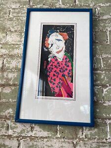 Framed mid century Modern Art  by Ella Ra'ayoni  Fabric Collage /MCM Judaica