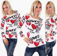 Pullover donna maglioncino maglione scritte,cuori&strass maniche lunghe nuovo